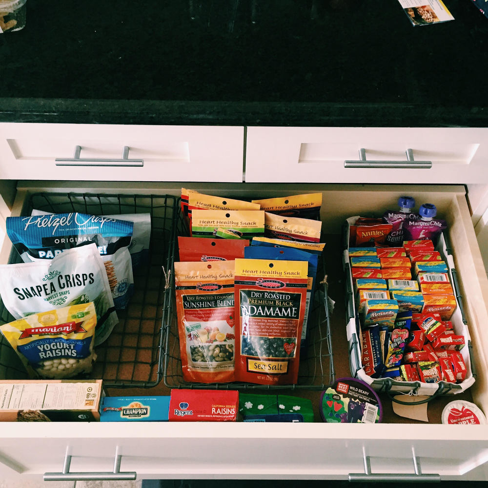 Snack Drawer organization. Easy to take snack favorites like Lara Bars, Raisins, Edamame, etc.
