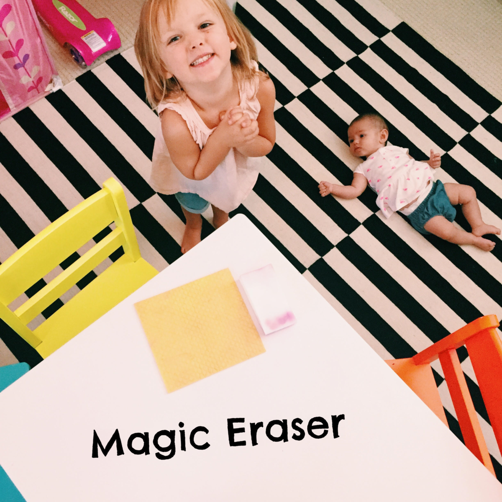 Thanks to the Magic Eraser's super power cleaning ability… her table is spotless!