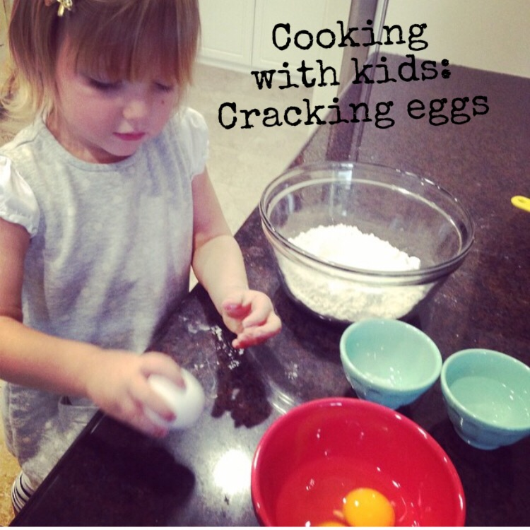 My daughter cracks the eggs on the counter 3 times then hands it to me to open up.