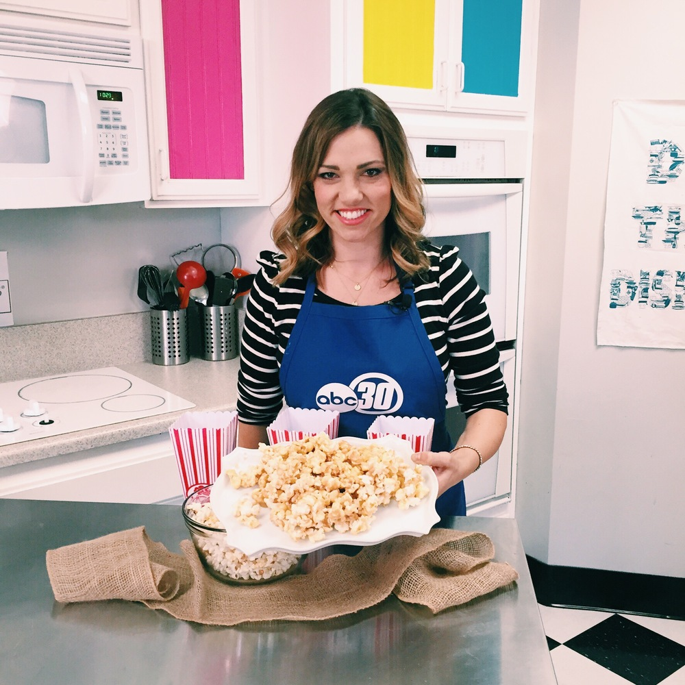 The best Caramel Corn recipe featured on ABC30 - www.ChefShayna.com