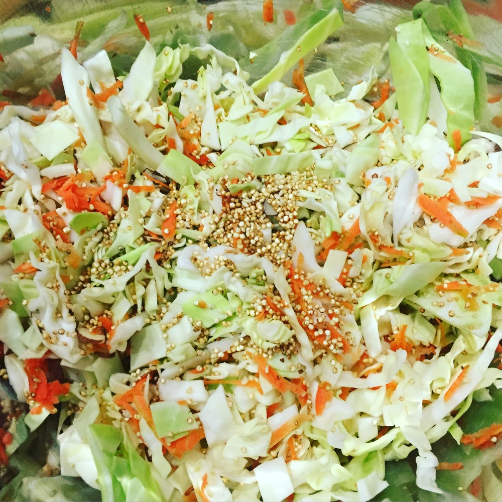 Asian Cabbage Salad with Toasted Quinoa- ChefShayna.com