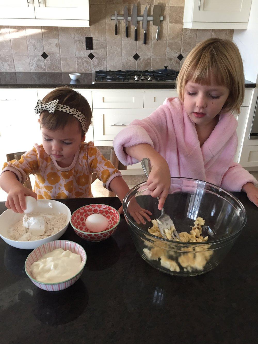 Kids in the kitchen making Banana Pancakes- www.ChefShayna.com