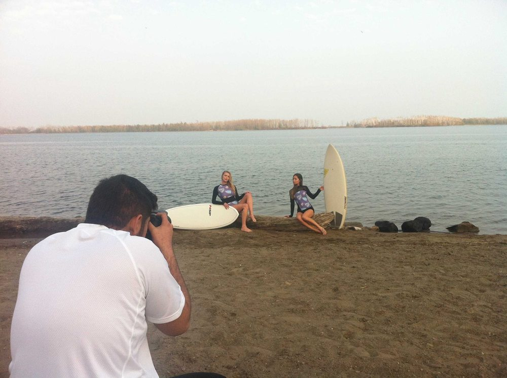 BTS Shot of our Surfing Photoshoot at Cherry Beach.