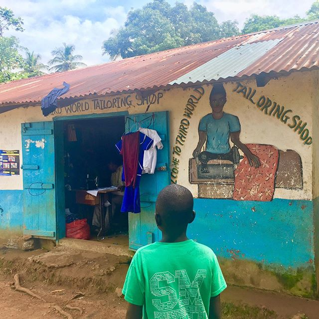 Local seamstress shop in Robertsport where the children have  made their school uniforms. Uniform tuition and materials cost around $50 a year in the public school, and still there are children that can't afford it. #childreneducation #liberia  #robertsports #globalc3  #crossculturalcare