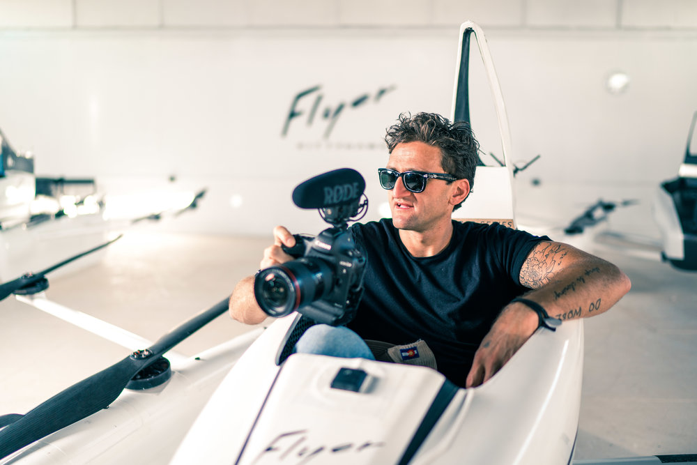 Casey Neistat, filmmaker and youtube personality,  tries the Flyer for the first time at Kitty Hawk's private hangar [Lake Las Vegas, California]