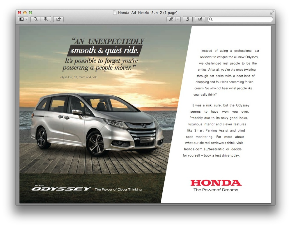 My words on the Honda Print Ad