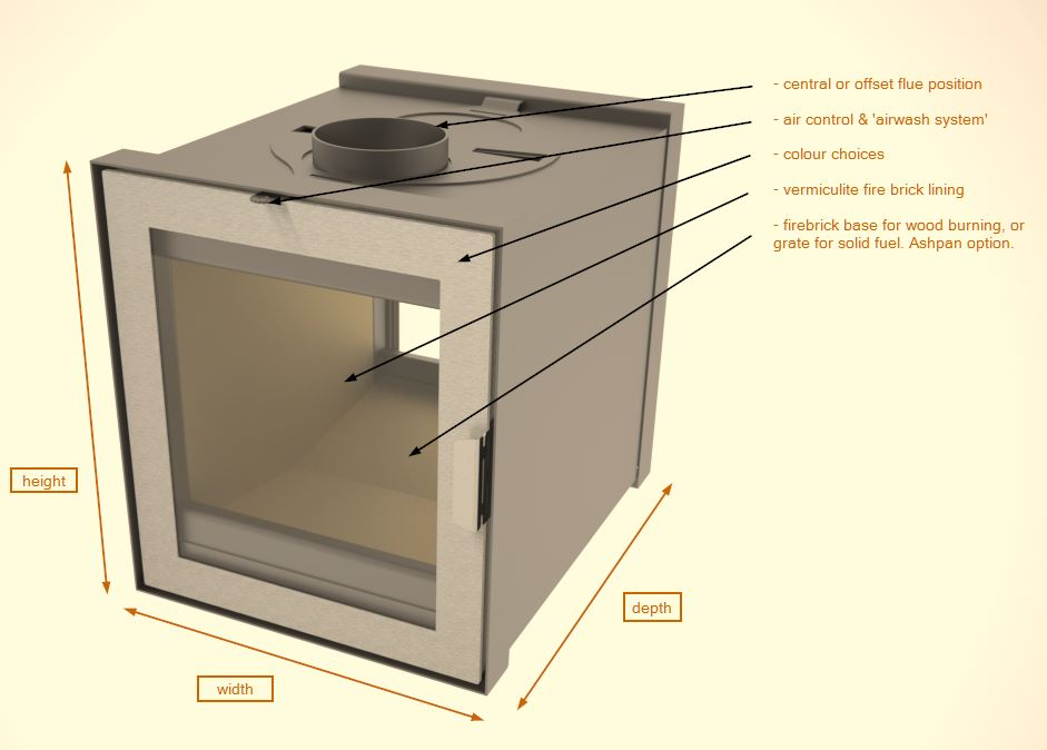 example made-to-measure double sided inset stove
