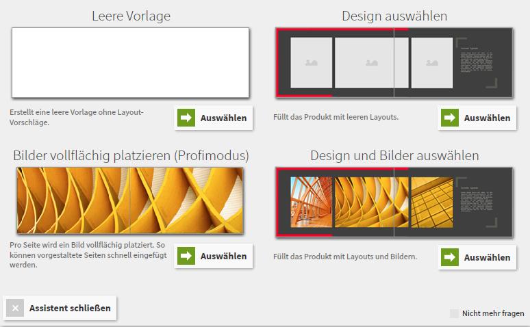 Auswahl zwischen den verschiedenen Design-Möglichkeiten
