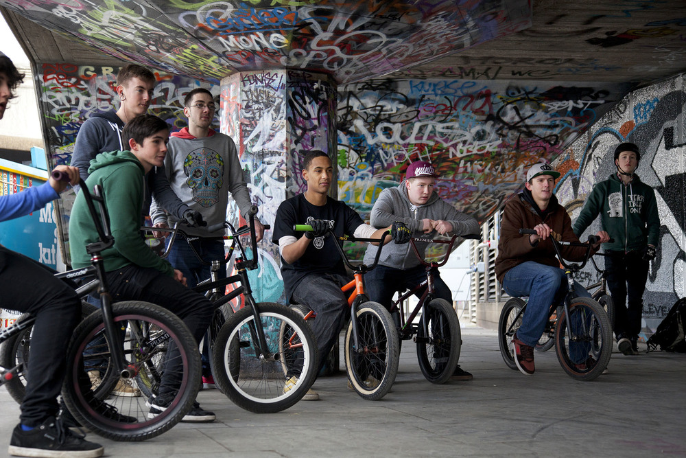 BMXers hanging out at the South Bank Undercroft.