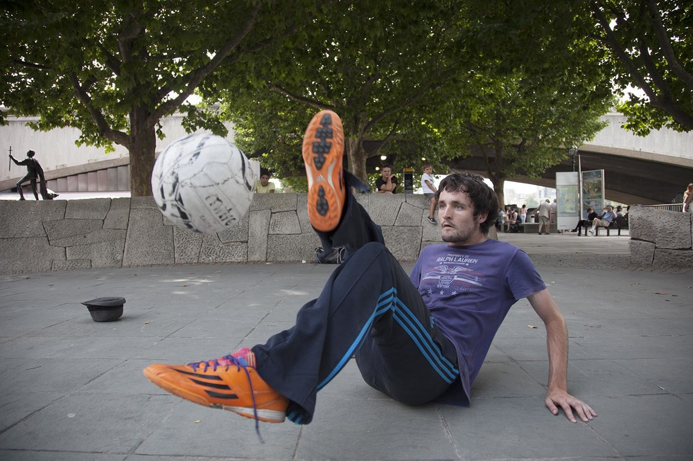 Football tricks by street performer Alex Palmer.