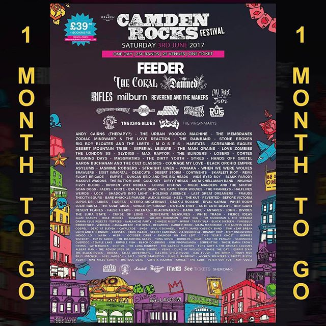 One more month before we play @camdenrocksfest on June 3rd! We have few tickets available so make sure to hit us up if you're coming down. #CamdenRocksFest #CamdenRocks #Festival #alternative #AltRock #RockFestival #BandOfTheDay