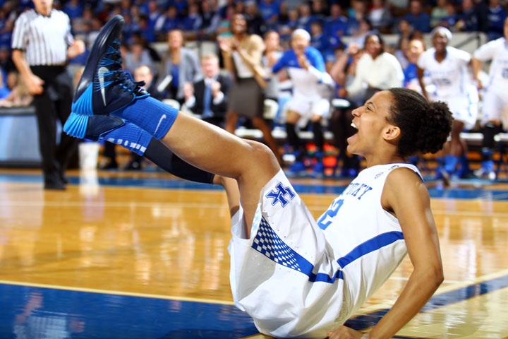 Kastine Evans celebrates after drawing a foul in the first few minutes of the first half of UK Hoop's loss to USC.