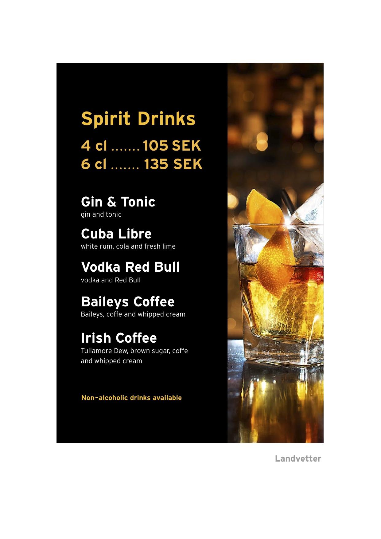 Arkivbild på drink blir barmeny på Arlanda och Landvetter
