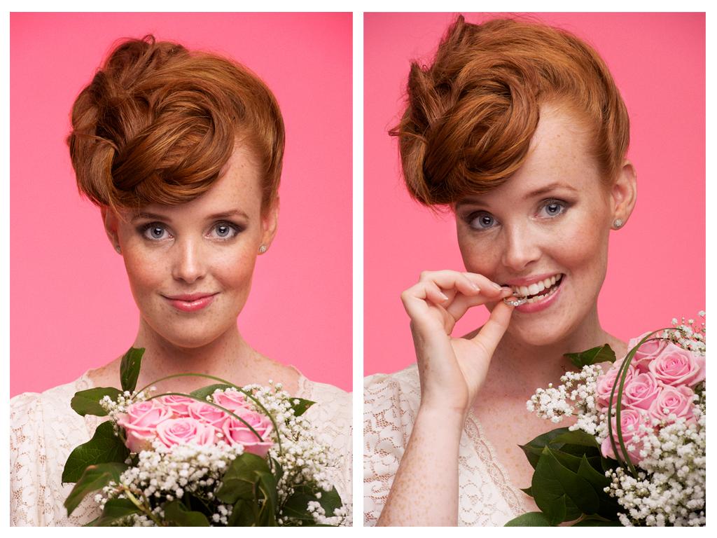 Två porträttbilder på Caroline for Mitt Budgetbröllop MUA: Karolina Danielson