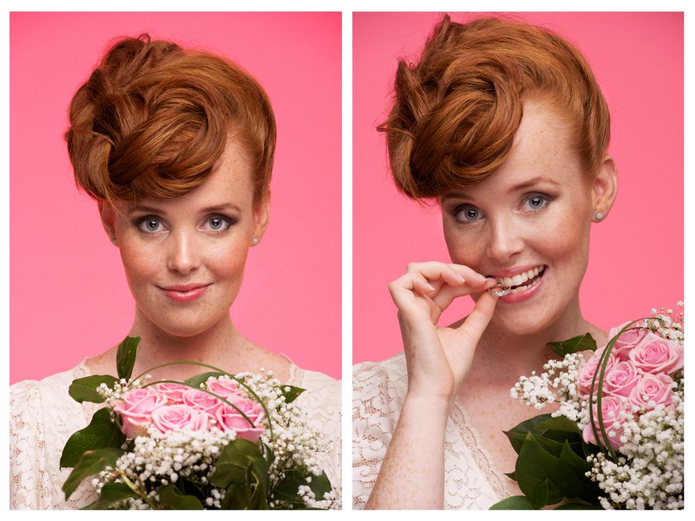 Två porträttbilder på Caroline for Mitt Budgetbröllop