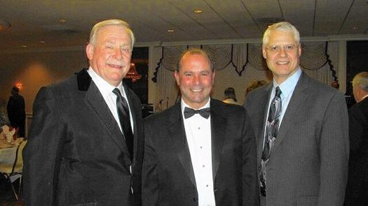 "Past President of the Chicago Society (Polish National Alliance) Ed Nowak Jr. of Elmwood Park with Elmwood Park President Angelo ""Skip"" Saviano and Franklin Park Mayor Barrett Pedersen"