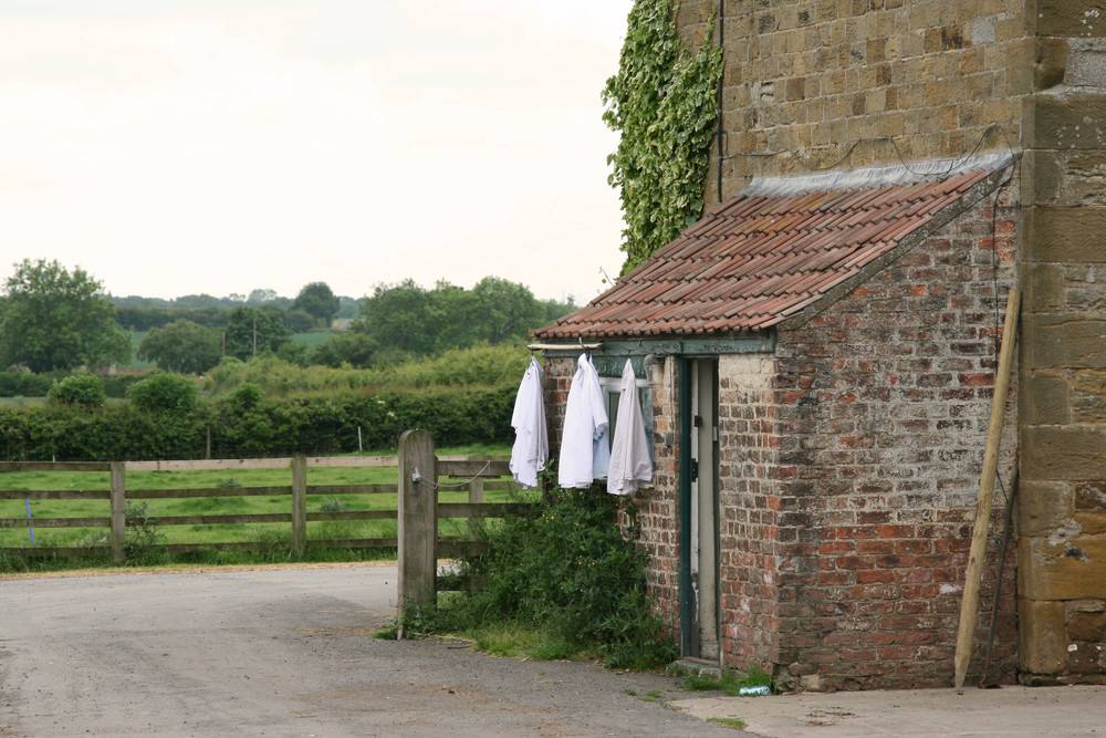 Shirts drying at the farmhouse.