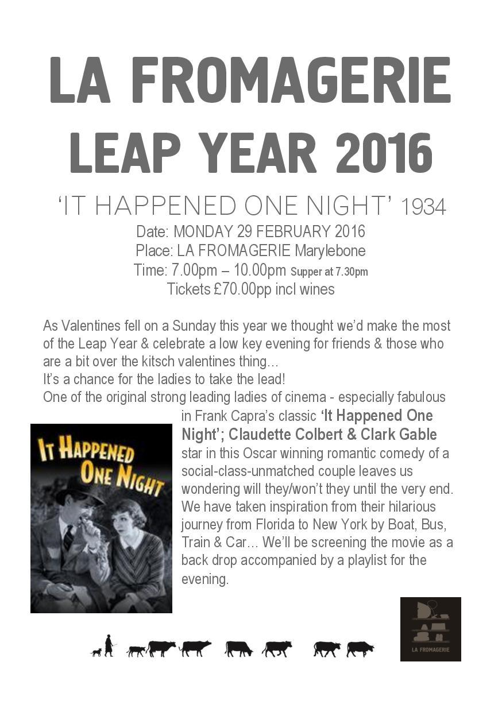 Leap Year 2016 Menu