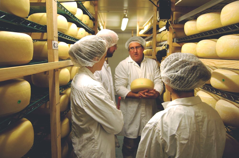 Andy and the La Fromagerie team in the first of the maturing rooms