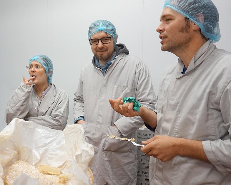 Cheesemongers Sarah and Michael sample the Baron Bigod Black