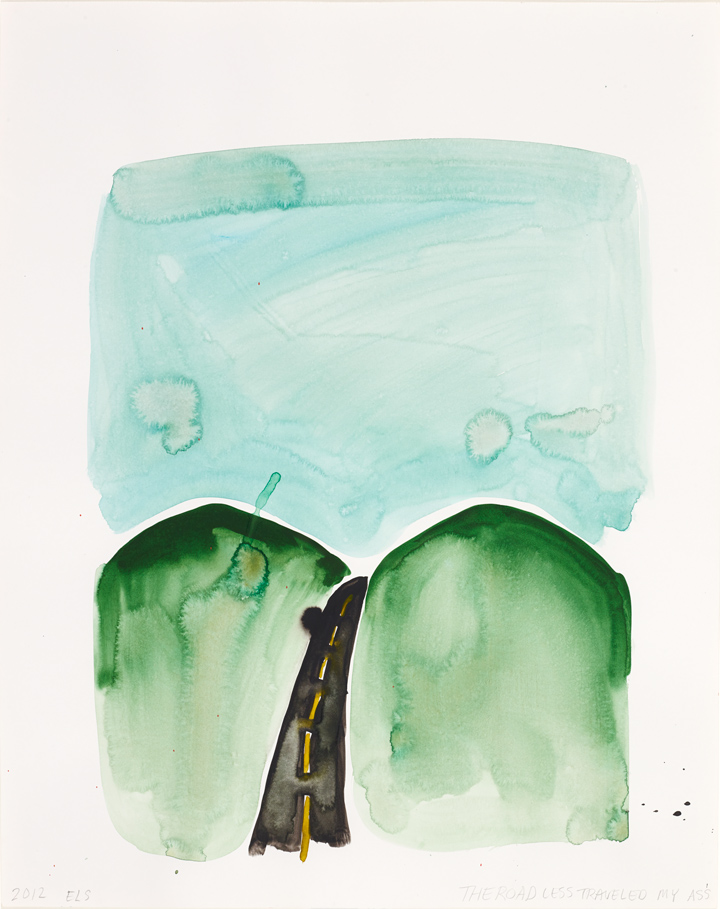 "The Road Less Traveled My Ass Emily Ludwig Shaffer 2012 Watercolor on paper 24"" x 29"""