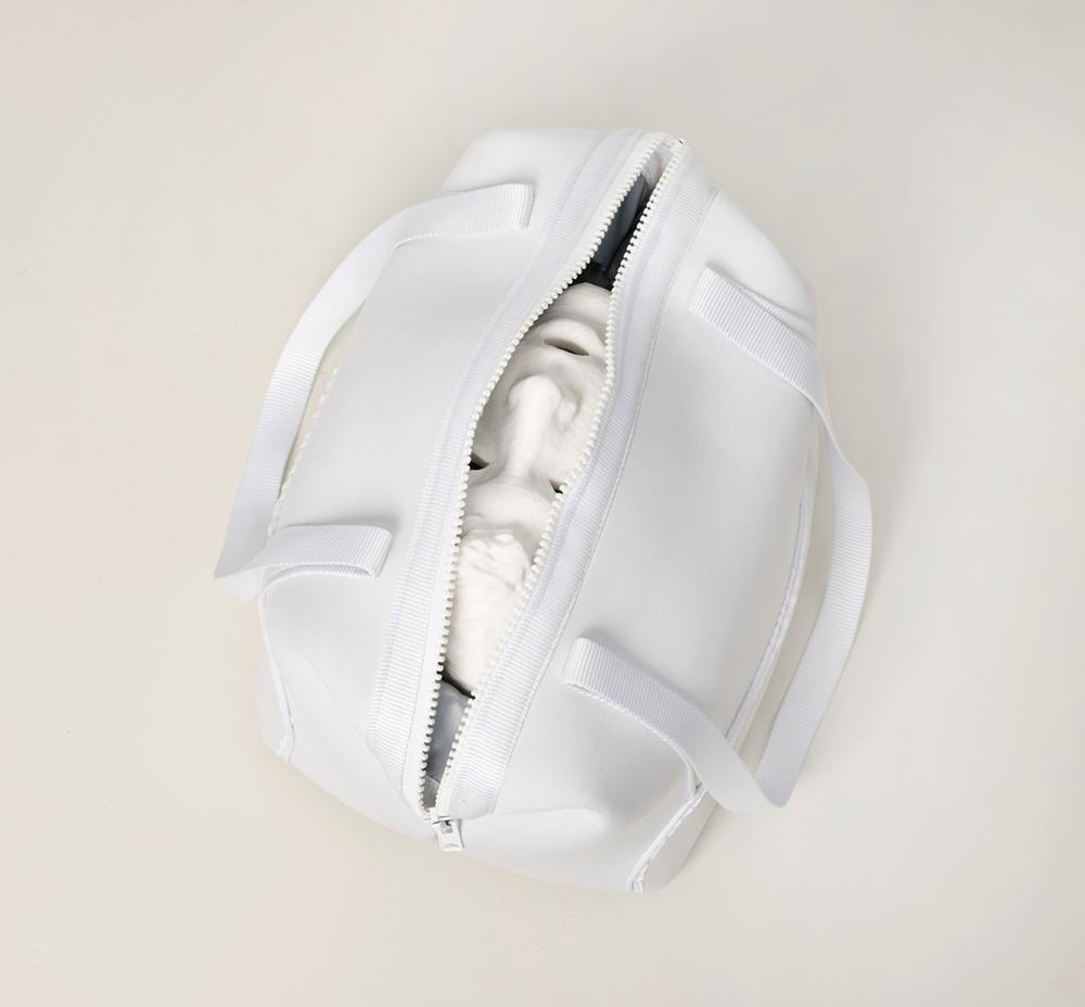 "Untitled Joel Dean 2014 Acrylonitrile butadiene styrene, neoprene, nylon, nylon plastic, 3M scotch-lite reflective sheeting 19"" x 16"" x 10"""