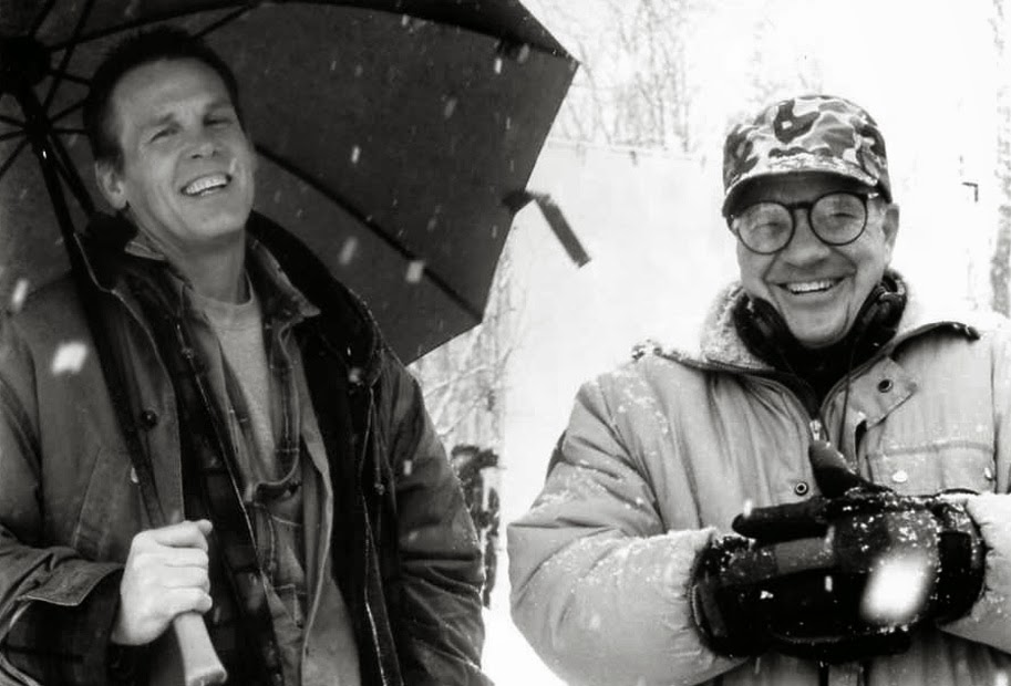 Nick Nolte and Paul Schrader on the set of Affliction.