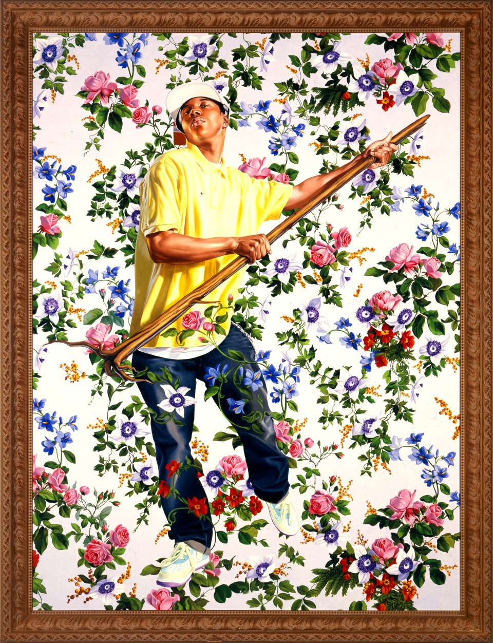 "Kehinde Wiley, Design for a Stained Glass Window with Wild Man, 2006. Oil on canvas 96"" x 72"""