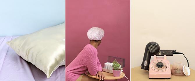 "Nakeya Brown,Vidal Sheen, Self Portrait with Shower Cap, Satin Pillow,Archival inkjet prints, 2014,8 x 10"" each"