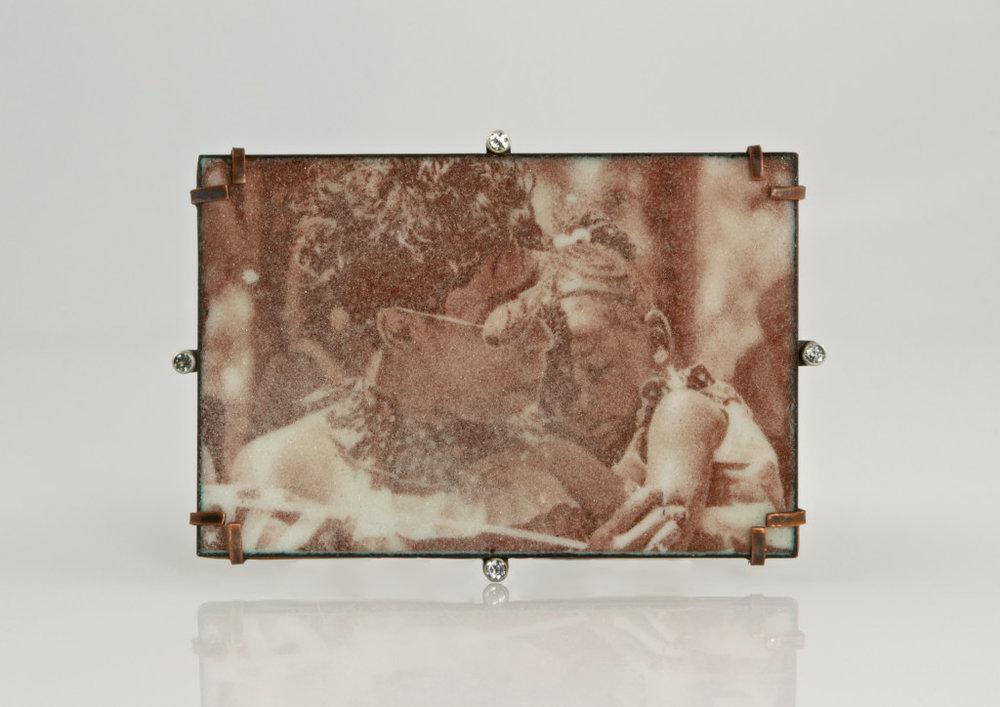 Kim Nogueira,L-Imperatrice; Brooch, copper, silver, vitreous enamel, topaz; 2 x 3 x 0.4 inches