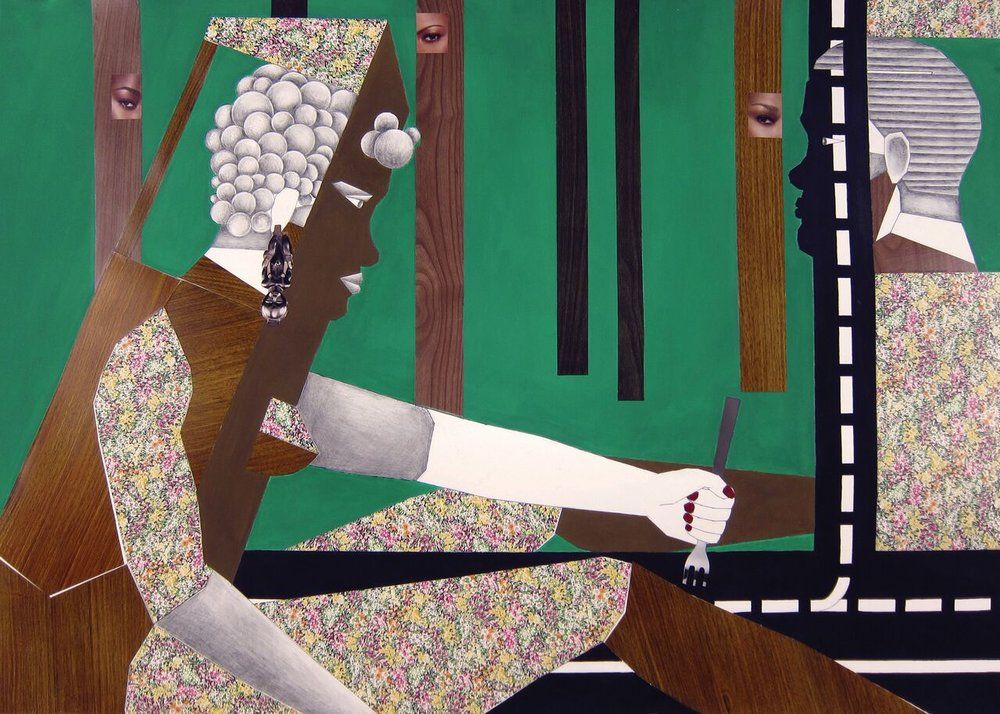 Derek Adams, Human Structures Divided, 2012, Mixed media collage on paper, 30 x 43 inches