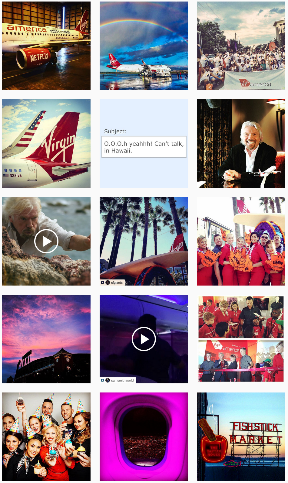 Virgin America Social Posts
