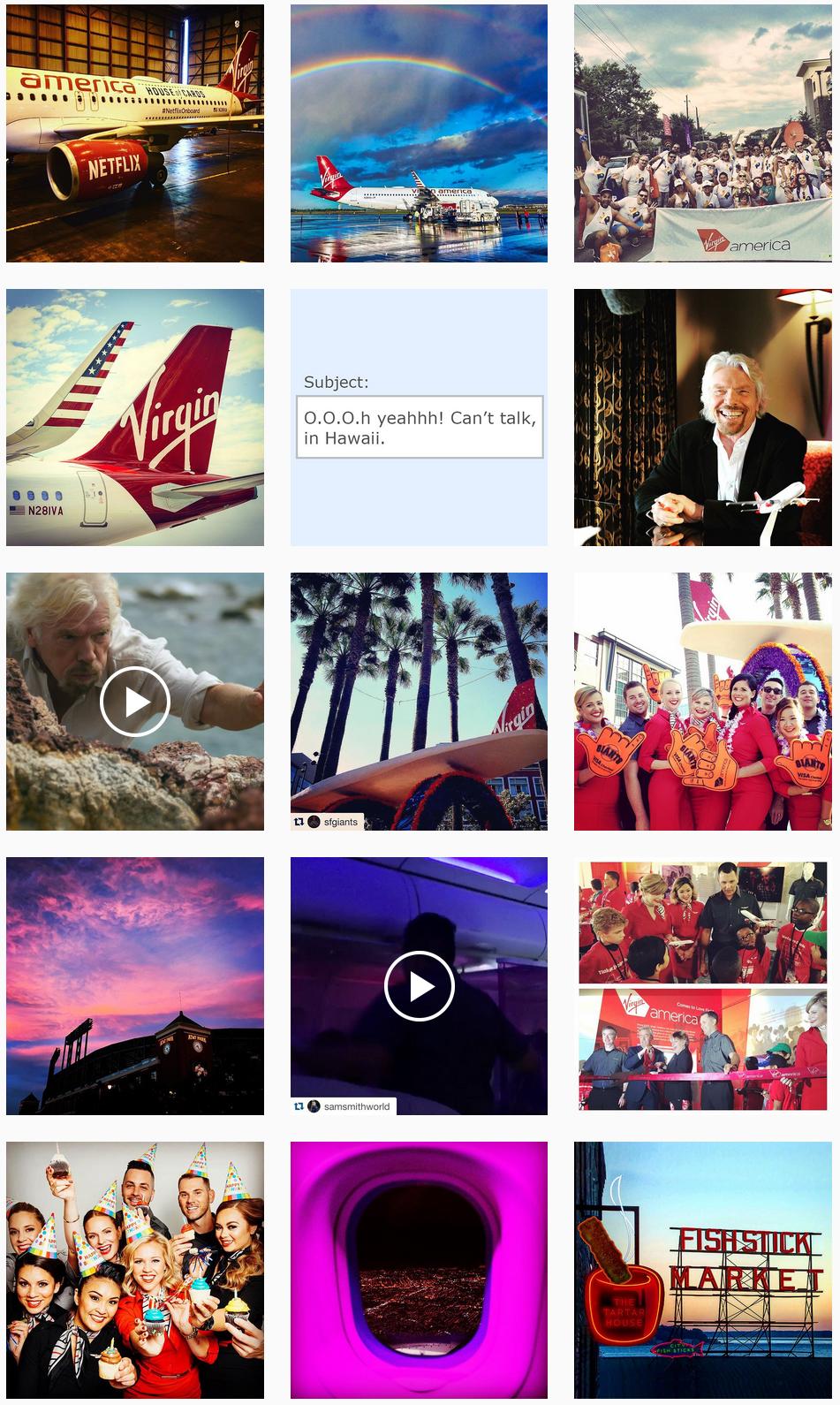 Virgin America Social Posts