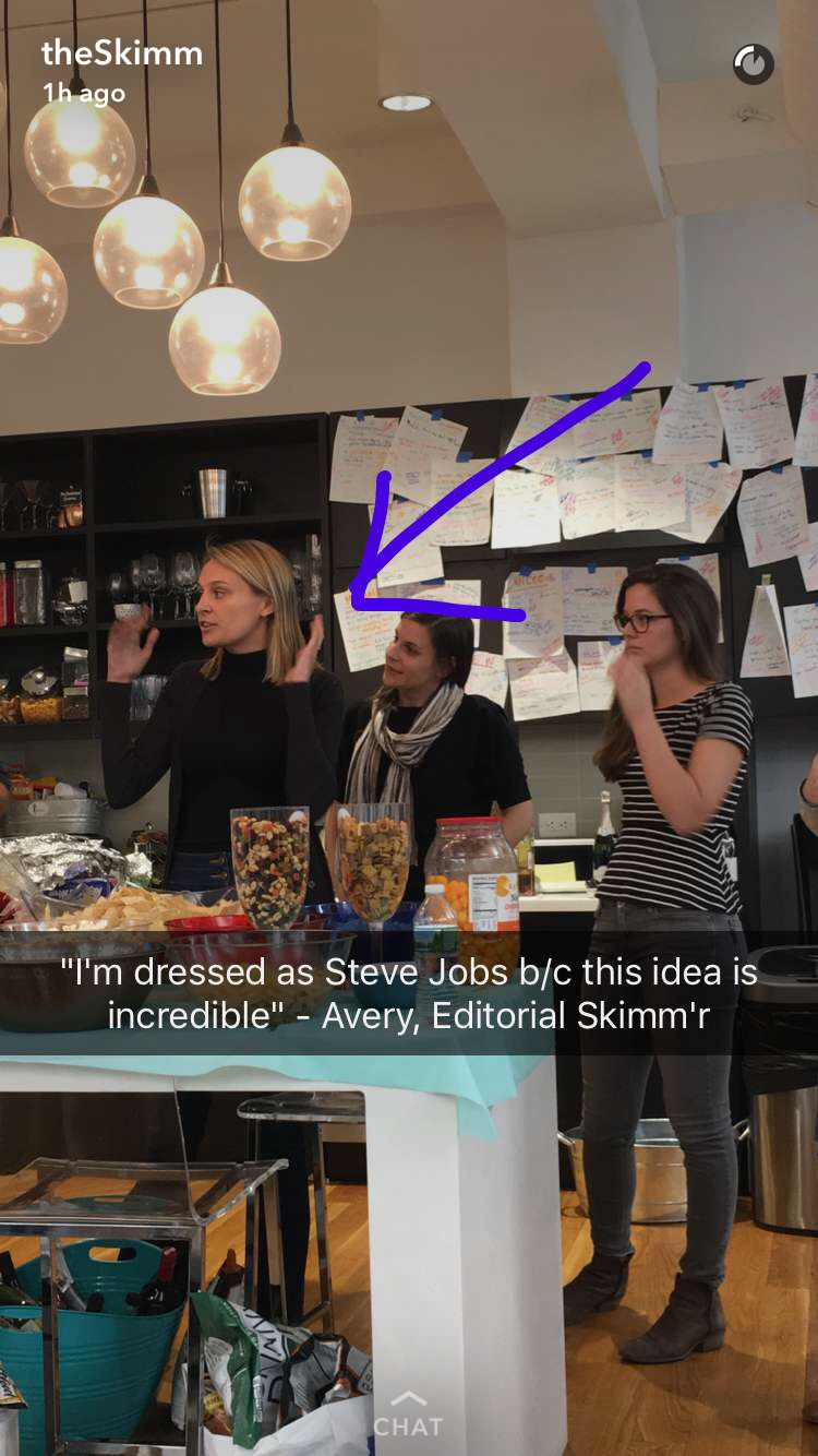 Screenshot taken of t  heSkimm   Snapchat. @theSkimm