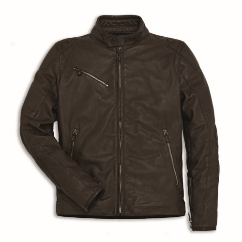 downtown c2 leather jacket (brown) — online ducati