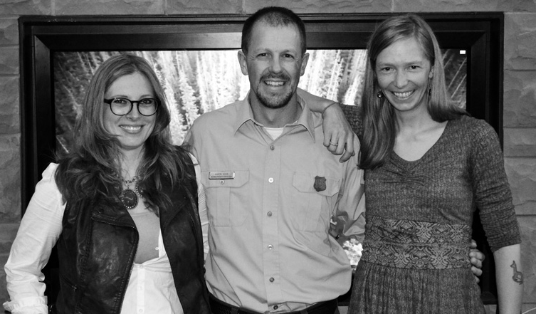 Morgan Heim, Aaron Voos, and Emilene Ostlind (l to r) at the premiere screening of Our Future Forests: Beyond Bark Beetles in Laramie, Wyoming, April 2014. Photo by Fred Schmechel.