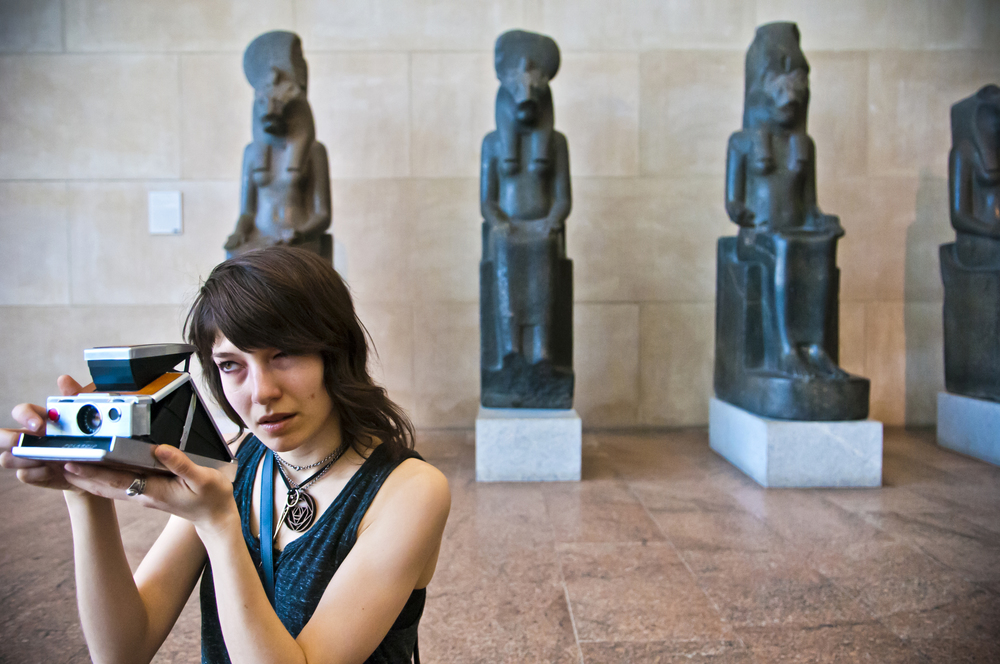 2013.04.24 – New York City, NY – Using a circa-1970 Polaroid camera, Jessica Palmer, a painter and animator from Toronto, makes photographs of the Temple of Dendur in the Metropolitan Museum of Art's exhibit of ancient Egyptian Art.