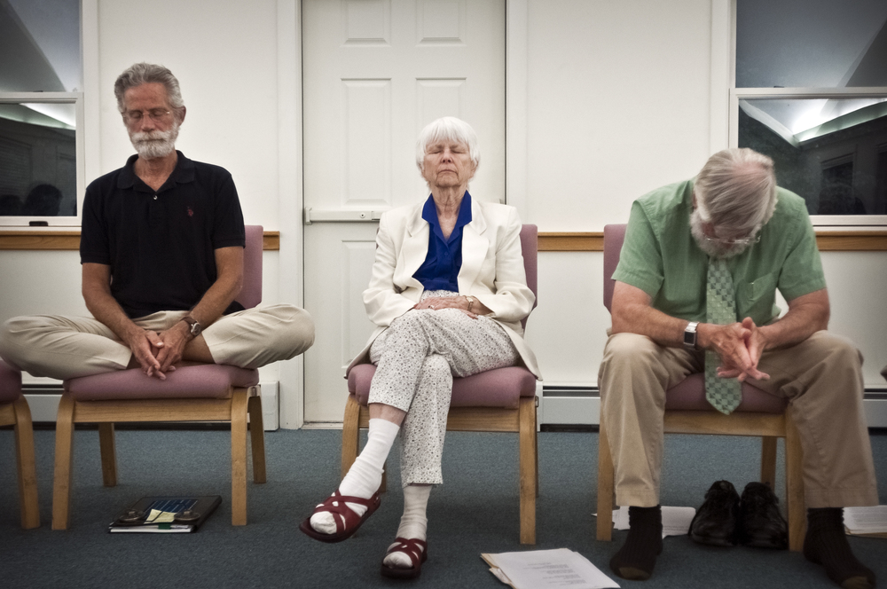 Storrs, CT    |    06.17.2011    |    (l - r)  Nicholaes Roosevelt, Judy Hyde and Norman Janes in silent worship.