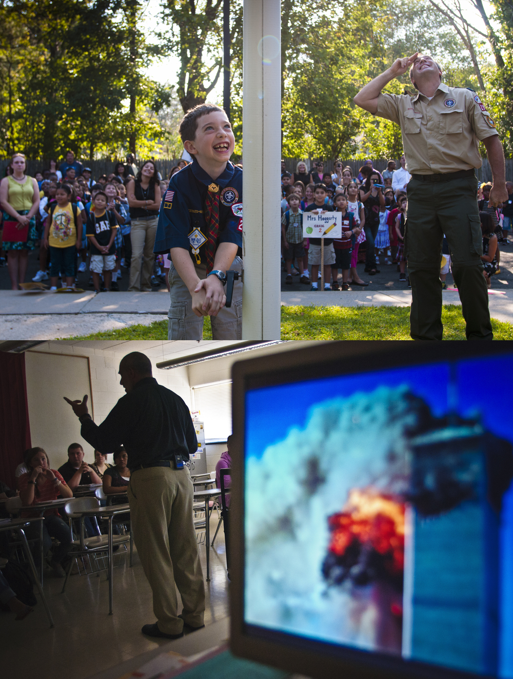 Top: West Hartford, CT  |  09.01.2011  |  On the first day of classes at Smith School, 4th-grader Sean Dombrofski raises the flag while his father Mark (R) salutes. Bottom: Bristol, CT  |  09.01.2011  |  U.S. History teacher Larry Covino talks with his Bristol Central High School class about their memories of the September 11 attacks.