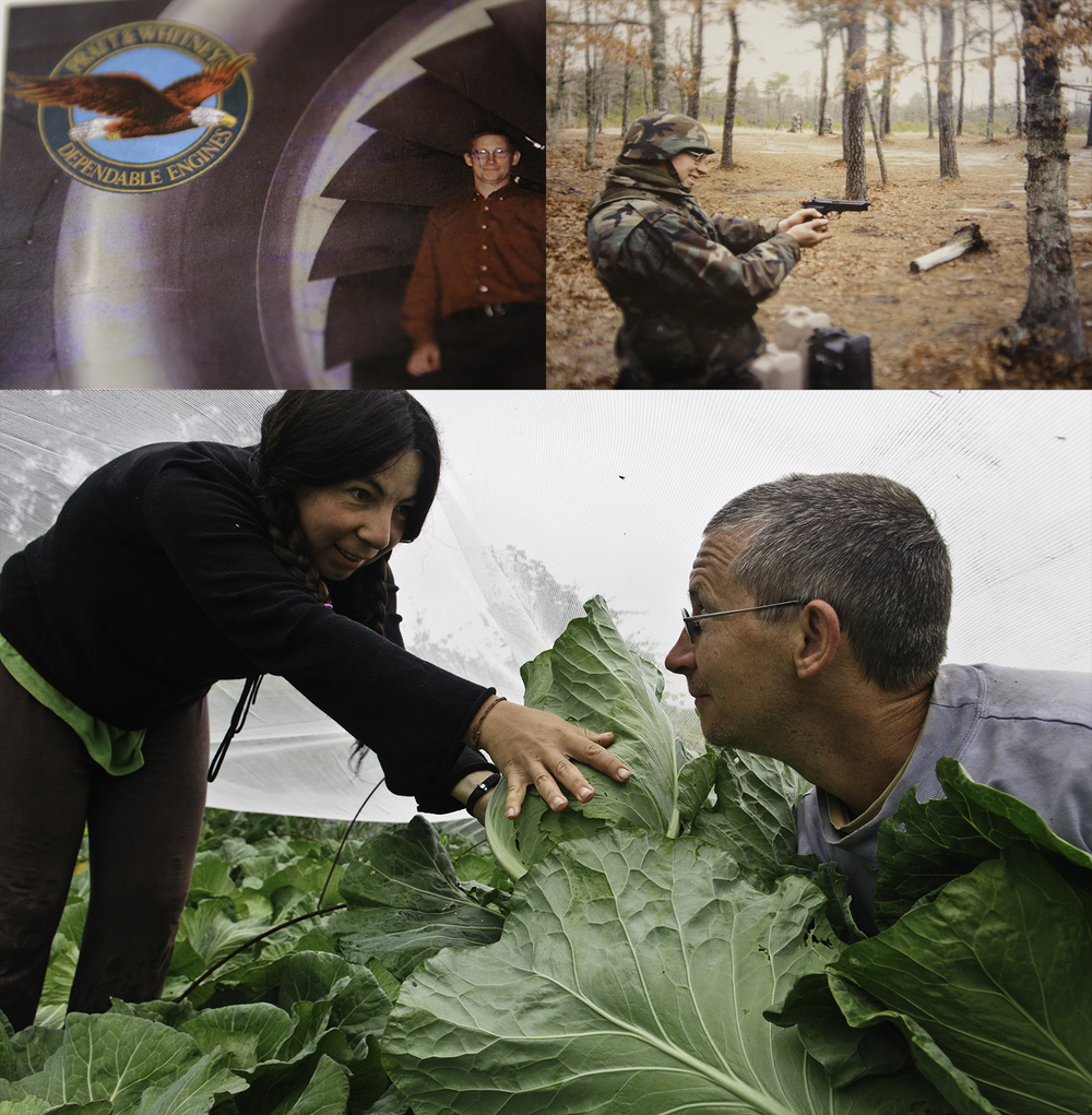 Clockwise from top left: 1) Ed Wazer as an engineer with Pratt & Whitney. 2) In the Army National Guard. 3) Raluca Mocanu and Edward Wazer harvesting cabbage grown under a bug barrier on the Shundahai Farm; a Community Supported Agriculture farm growing food for over 50-people and their families.