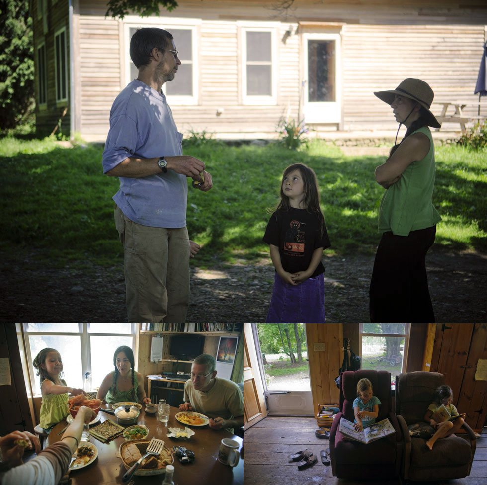 Top: Ed and Raluca talk farm business while their daughter, Aiyana, listens. Bottom Left: Lunch hour. Bottom Right: Daytime reading.