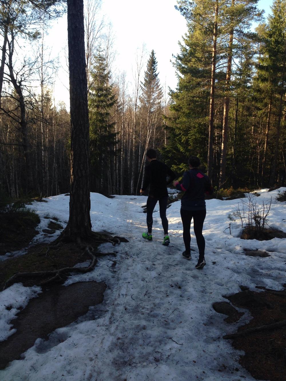 Litt mer snø rett etter at stien har tatt av. Fremdeles fast.