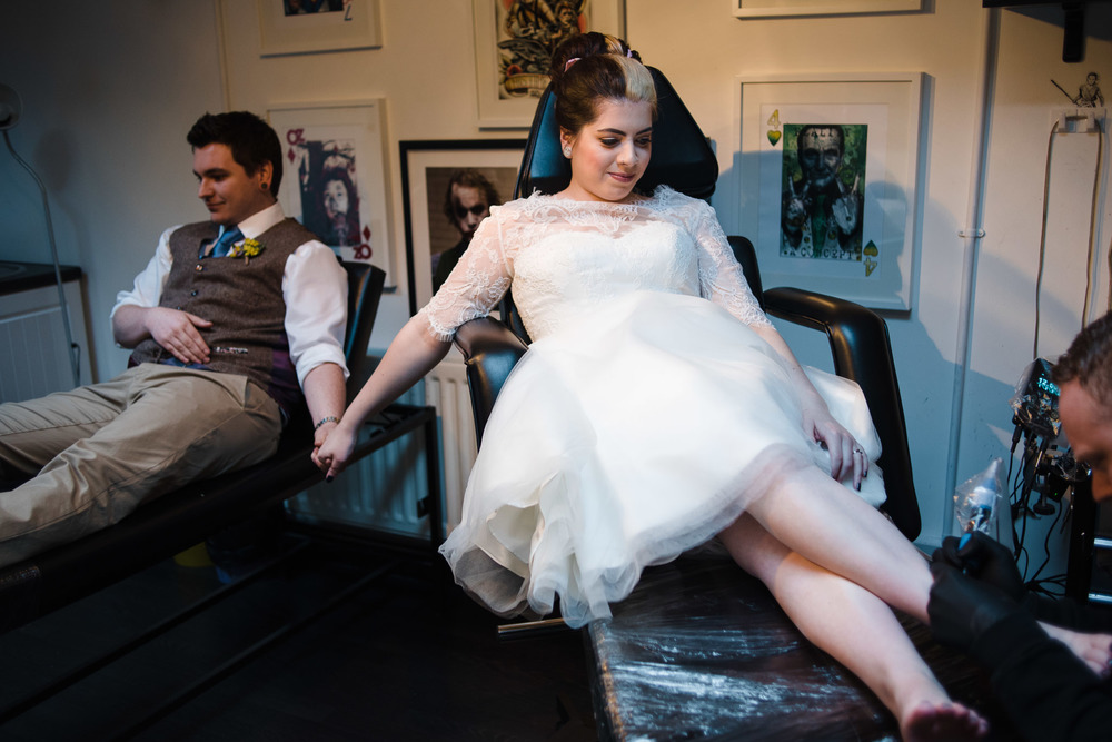 Craig, Alice, Wedding, Bangor, Northern Ireland, Friday 13th, Tattoo Parlour, Tattoo, Alternative Bride, Ink, Inked