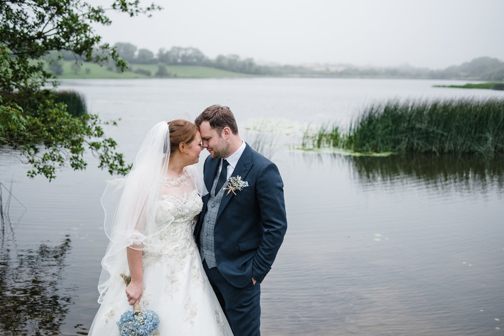 Bride & Groom beside lake in Downpatrick, County Down, Northern Ireland - The Mill at Ballydugan