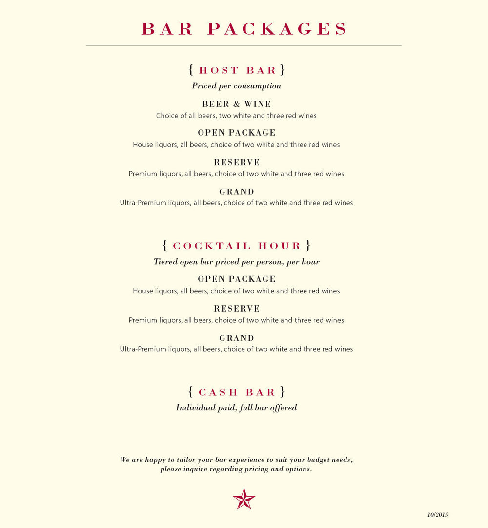 To download a PDF of the bar packages menu, click here.