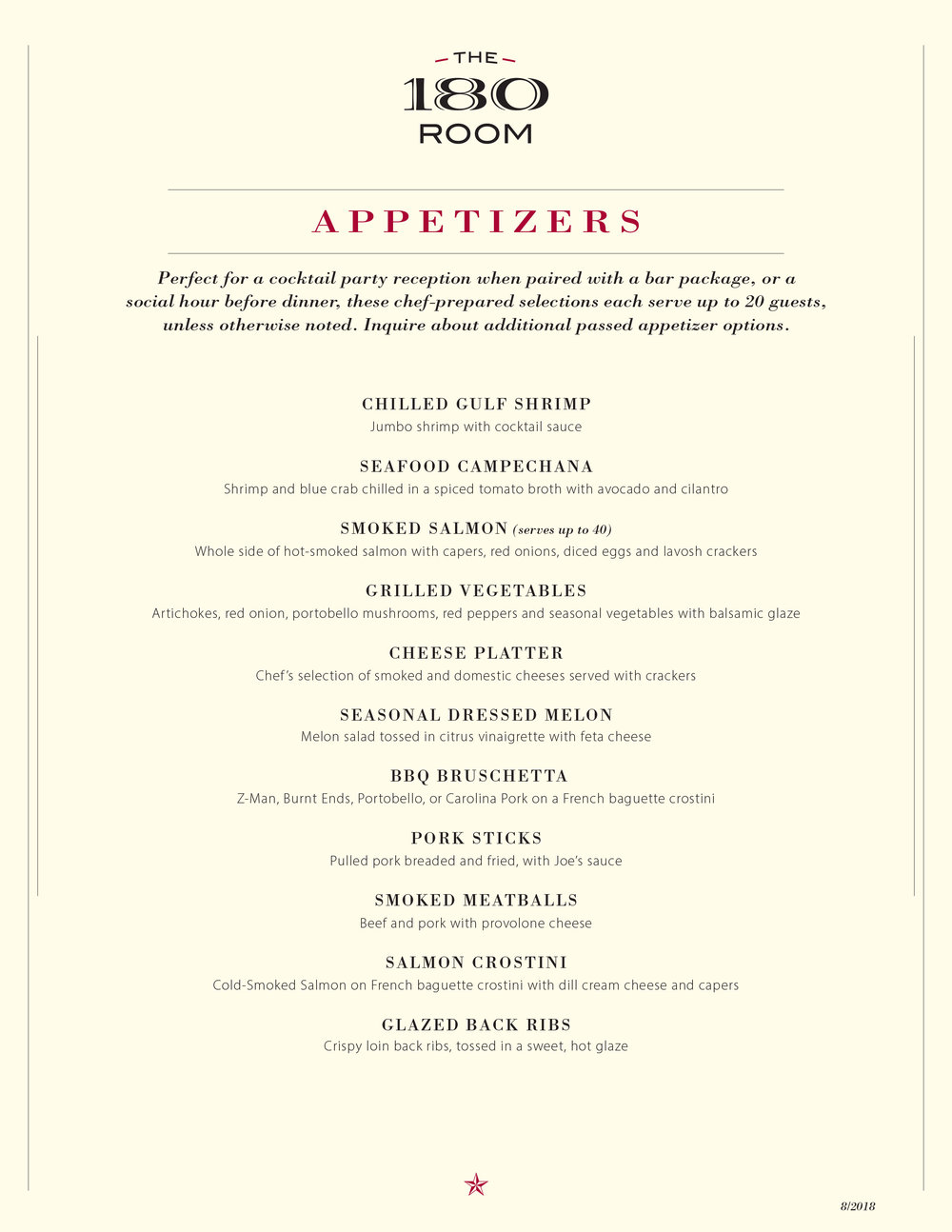 To download a PDF of the appetizer menu, click here.