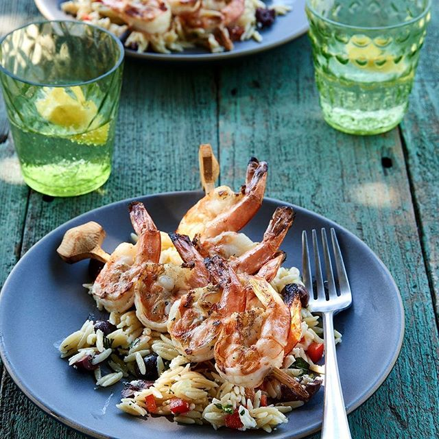 "Lemon-Dill Shrimp with orzo salad- Course two of the Weber's Greatest Hits Cookbook Dinner on Saturday, June 3rd Call 913.390.0180 to snag a seat and this great cookbook! ""This dish gets much of its character from the smoky flavor that only a grill can deliver to shrimp.  The recipe works best with extra-large shrimp because they are typically more succulent than the smaller ones."" - @jamiepurviance @webergrills @ray_kachatorian  @kcbbqsociety @joeskc #180room #summertime #grilling #webergrill"