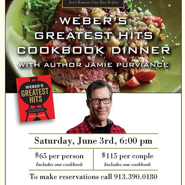 Join us in welcoming Jamie Purviance for a cookbook dinner on June 3rd!  913.390.0180 for your seats. #publicdinner #webergrill #joeskc #kcbbqstore #The180Room