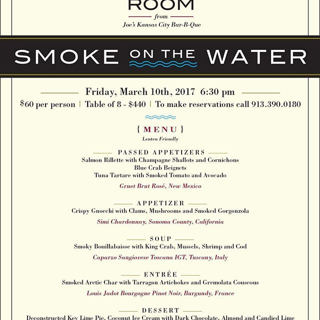 Join us for the first public dinner of the year 3/10.  913-390-0180 #booknow #joeskc #The180Room #smokeonthewater #publicdinner #goodfood