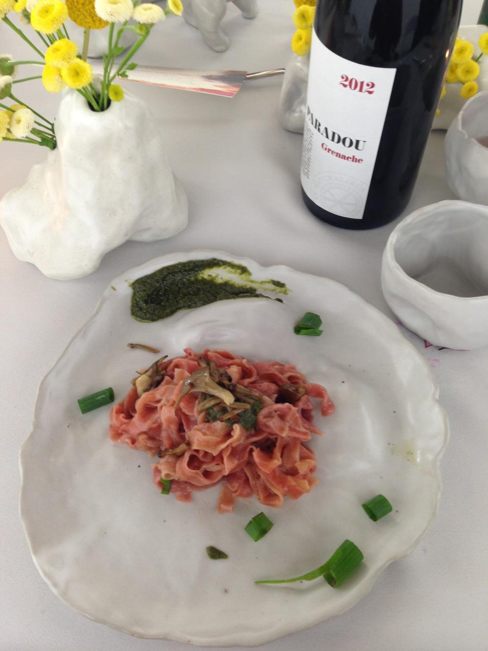 Roasted beet Fettucine, King Trumpets, Yuzu salsa verde, Yogurt